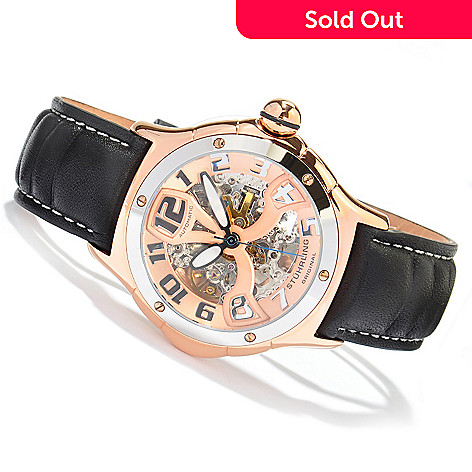 613-599 - Stührling Original Men's Alpine Renegade Skeleton Automatic Leather Strap Watch