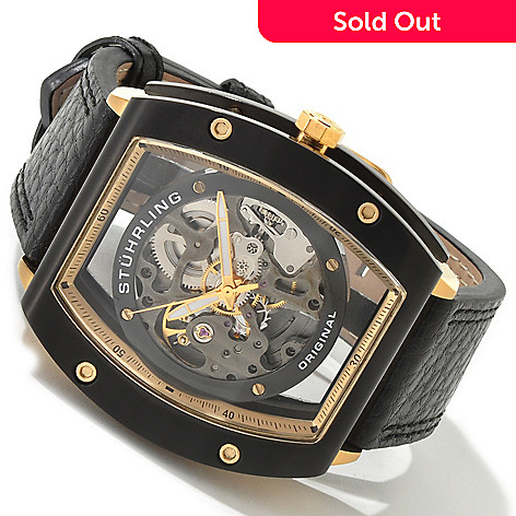 613-681 - Stührling Original Men's Zeppelin Z-2 Automatic Skeleton Leather Strap Watch