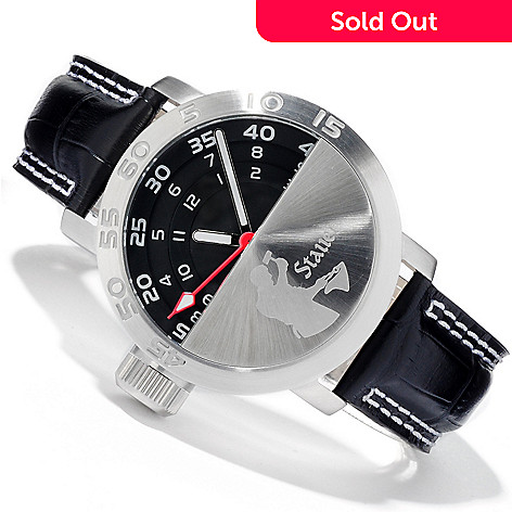 613-758 - Stauer Men's Redline Quartz Leather Strap Watch