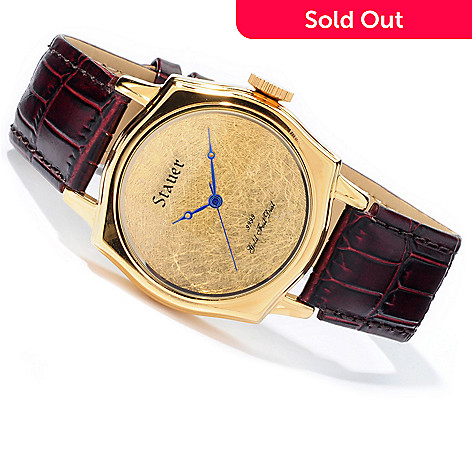 613-759 - Stauer Men's 24K Leaf Dial Swiss Quartz Leather Strap Watch