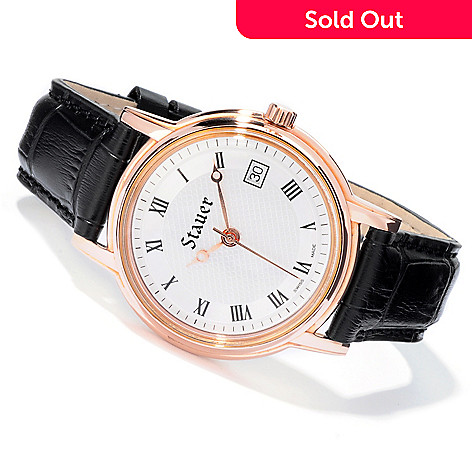 613-766 - Stauer Men's Swiss Banker Automatic Leather Strap Watch