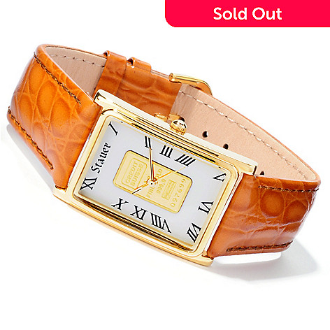 613-768 - Stauer Men's or Women's Gold Standard Ingot Quartz Leather Strap Watch