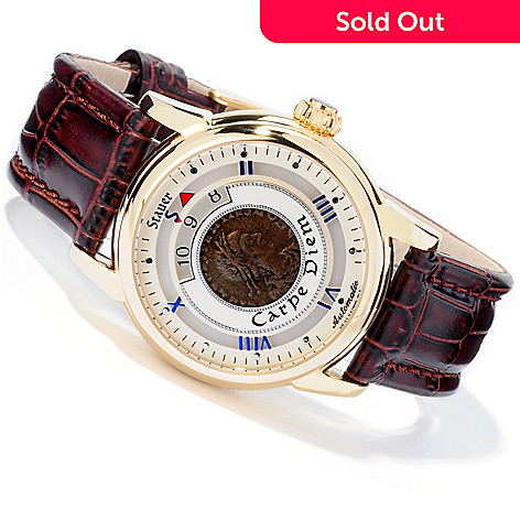 613-769 - Stauer Men's Roman Coin Automatic Stainless Steel Strap Watch