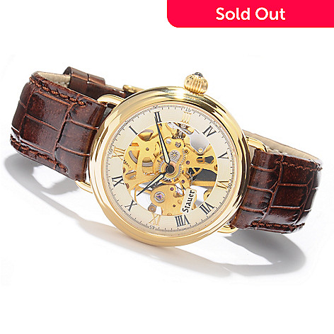 613-774 - Stauer Men's 1779 Skeleton Mechanical Leather Strap Watch