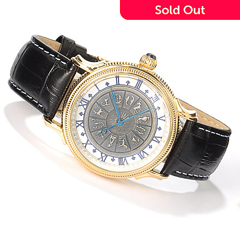 613-777 - Stauer Men's Zodiac Quartz Movement Leather Strap Watch