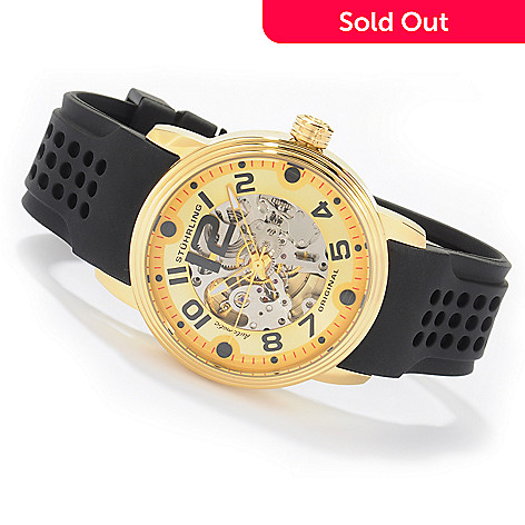 613-781 - Stührling Original Men's Delphi Adonis Automatic Stainless Steel Rubber Strap Watch