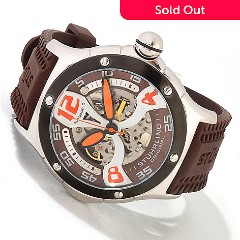 613-808 - Stührling Original Men's Alpine Xtreme Automatic Rubber Strap Watch