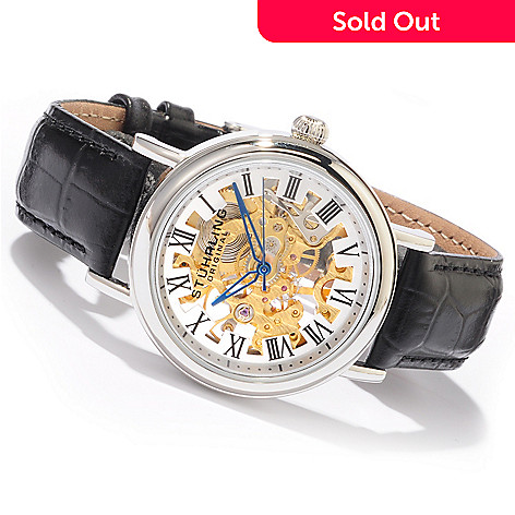 613-809 - Stührling Original Women's Macbeth Mechanical Leather Strap Watch