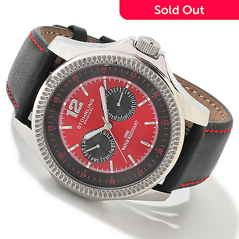 613-871 - Stührling Original Men's Targa Classic Quartz Leather Strap Watch