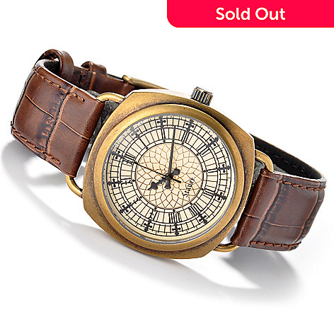 613-888 - Stauer Men's Big Ben Quartz Leather Strap Watch
