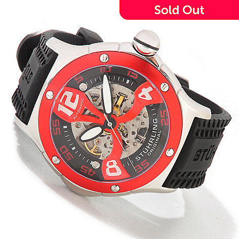 613-924 - Stührling Original Men's Alpine Xtreme Skeletonized Automatic Rubber Strap Watch