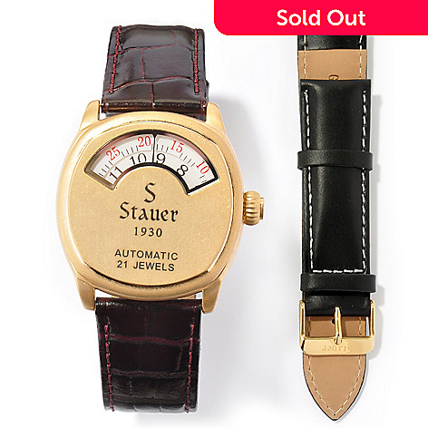 613-936 - Stauer Men's 1930 Dashtronic Automatic Leather Strap Watch w/ Extra Strap