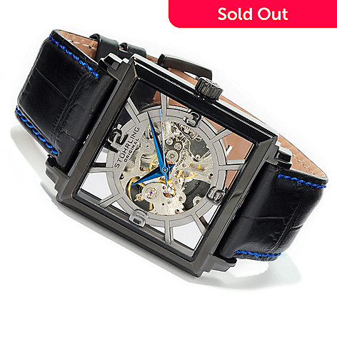 613-965 - Stührling Original Men's Winchester Plaza Skeleton Automatic Leather Strap Watch