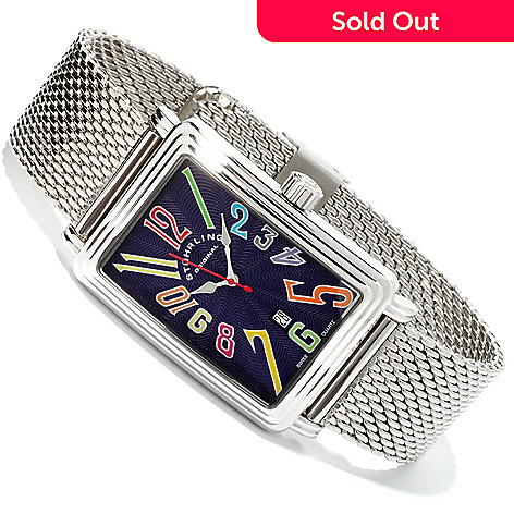 613-970 - Stührling Original Men's Uptown Ozzie Genteel Quartz Mesh Stainless Steel Bracelet Watch