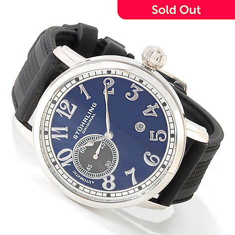 613-995 - Stührling Original Men's Legacy De Novo Automatic Stainless Steel Rubber Strap Watch