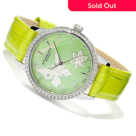 614-047 - Stührling Original Women's Verona Mariposa Quartz Mother-of-Pearl Dial Leather Strap Watch