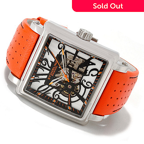 614-069 - Stührling Original Men's Manchester Skeleton Automatic Leather Strap Watch
