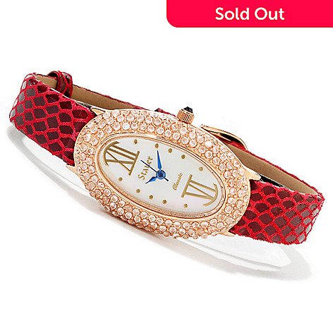 614-082 - Stauer Women's Jardin Quartz Cubic Zirconia Leather Strap Watch