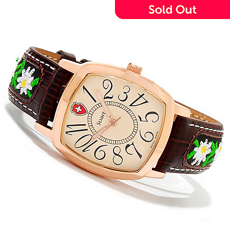 614-084 - Stauer Women's Edelweiss Swiss Quartz Leather Strap Watch