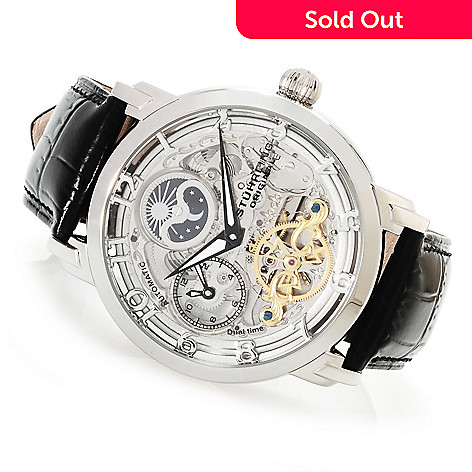 614-089 - Stührling Original Men's Winchester Automatic Skeletonized Leather Strap Watch