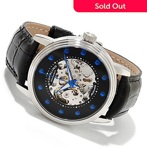 614-093 - Stührling Original Men's Delphi Archer Skeleton Automatic Leather Strap Watch