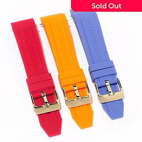 614-120 - Stührling Original Manchester Ozzie Set-of-Three Interchangeable Rubber Straps