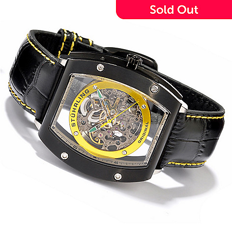 614-122 - Stührling Original Men's Neo Zeppelin Automatic Skeleton Leather Strap Watch