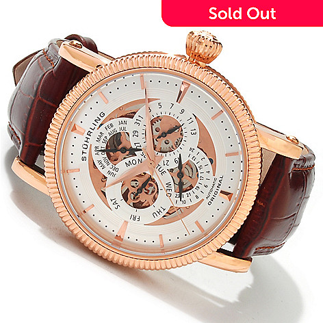 614-180 - Stührling Original Men's Grand Symphony Automatic Multifunction Leather Strap Watch
