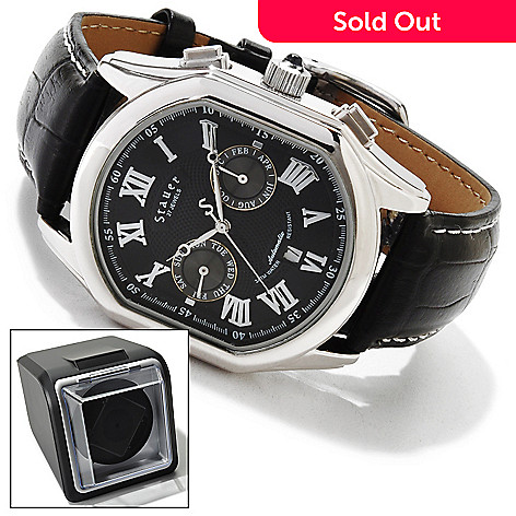 614-194 - Stauer Men's Meisterzeit Automatic Leather Strap Watch w/ Winder