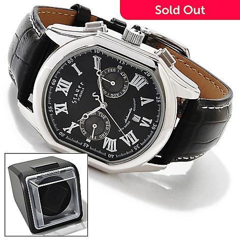 614-194 - Stauer Men's Meisterzeit Automatic Leather Strap Watch w/ Winder
