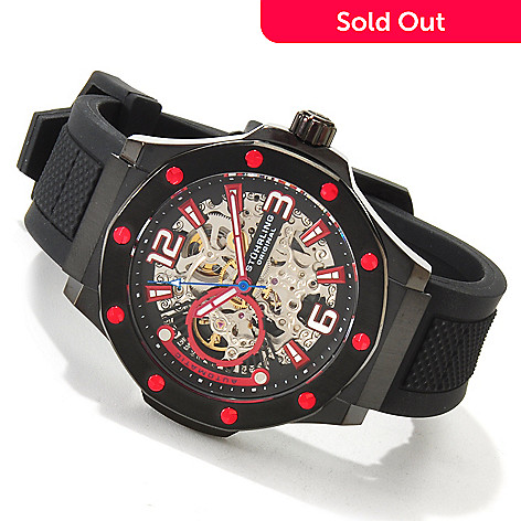 614-224 - Stührling Original Men's Apocalypse Skeleton Automatic Rubber Strap Watch