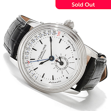 614-266 - Stührling Original Men's Saturnalia Executive Automatic Leather Strap Watch