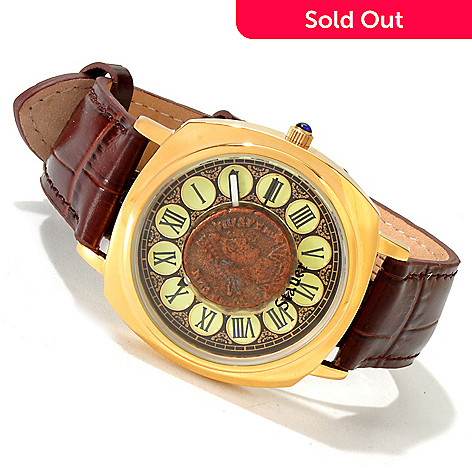 614-286 - Stauer Men's Naissus Roman Coin Stainless Steel Leather Strap Watch