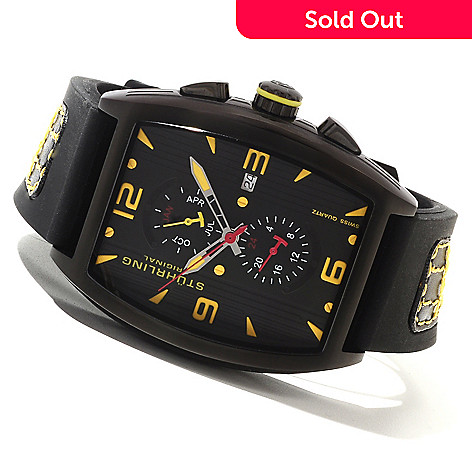 614-307 - Stührling Original Men's Millennia Turbine Quartz Stainless Steel Rubber Strap Watch