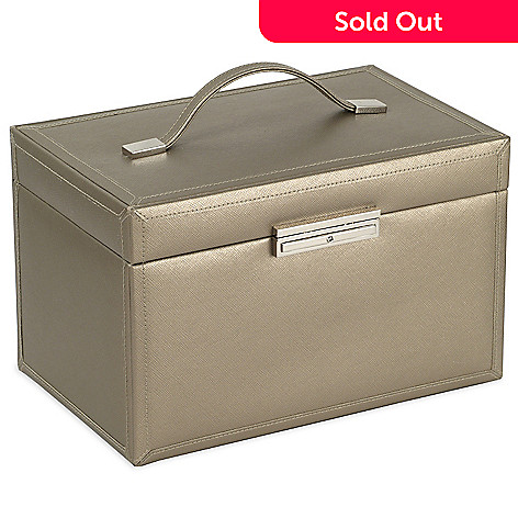 614-394 - WOLF Queen's Court 21 Compartments 10.50'' Saffiano Leather Jewelry Case