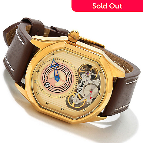 614-396 - Stauer Men's Oberon Dual Quartz & Automatic Movements Stainless Steel Case Leather Strap Watch