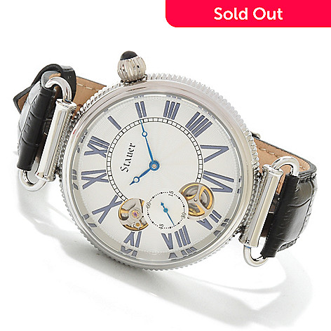 614-397 - Stauer Men's Duello II Dual Quartz & Automatic Movements Open Heart Leather Strap Watch