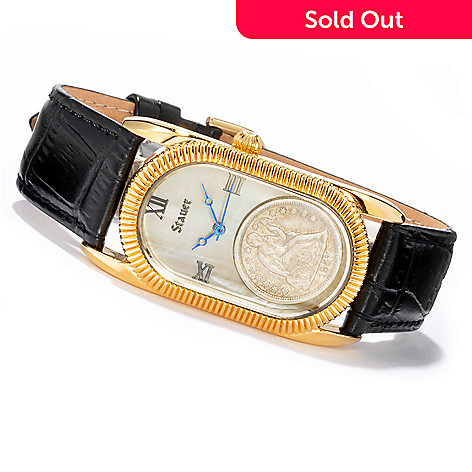 614-399 - Stauer Women's Liberty Coin Mother-of-Pearl Dial Leather Strap Watch