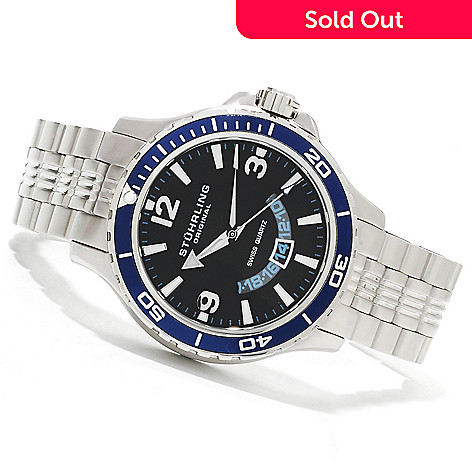 614-406 - Stührling Original Men's Pioneer Quartz Stainless Steel Bracelet Watch
