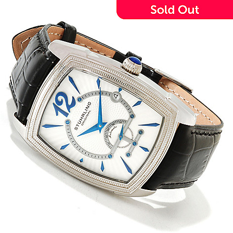 614-433 - Stührling Original Men's Taurus Automatic Stainless Steel Case Exhibition Back Leather Strap Wa