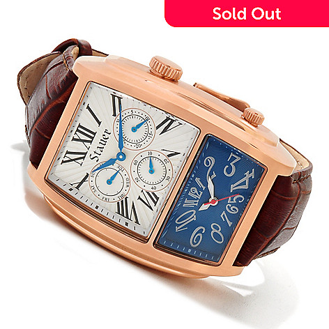614-439 - Stauer Men's Equinox Quartz Dual Dial Stainless Steel Case Leather Strap Watch
