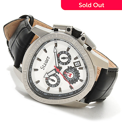 614-442 - Stauer Men's Throttle Quartz Chronograph Stainless Steel Case Leather Strap Watch