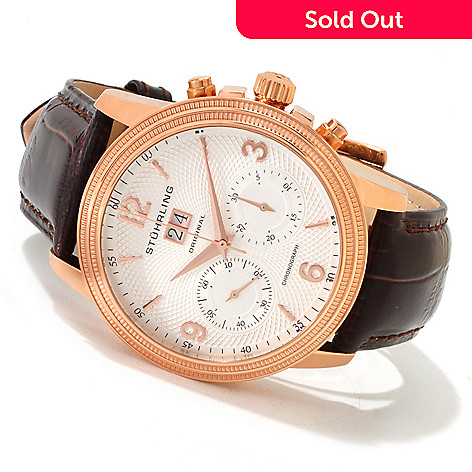 614-450 - Stührling Original Men's Mercury Mechanical Chronograph Leather Strap Watch