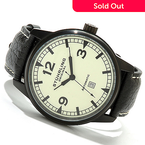 614-453 - Stührling Original Men's Tuskegee Warhawk Automatic Luminous Dial Leather Strap Watch