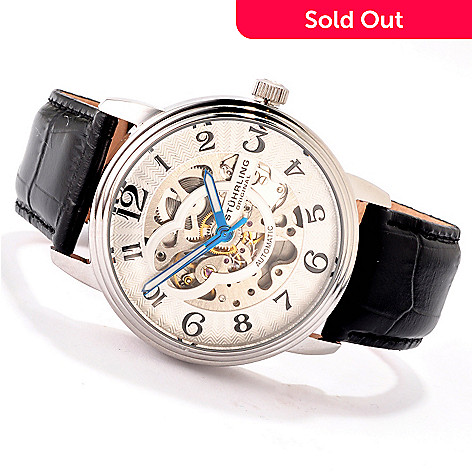 614-490 - Stührling Original Men's Delphi Automatic Skeleton Stainless Steel Case Leather Strap Watch