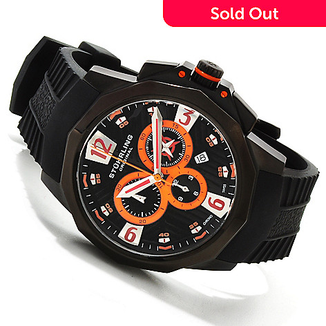 614-523 - Stührling Original Men's Commander Quartz Chronograph Stainless Steel Case Rubber Strap Watch