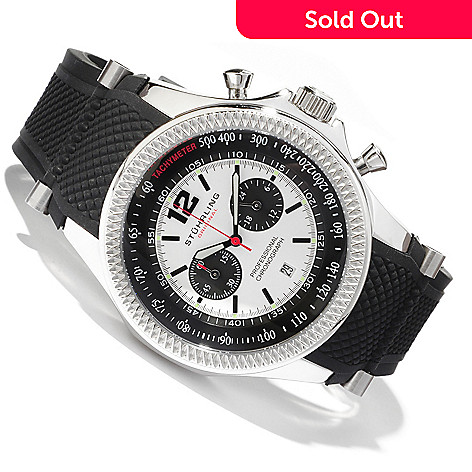 614-525 - Stührling Original Men's Targa Sport Quartz Chronograph Stainless Steel Case Rubber Strap Watch
