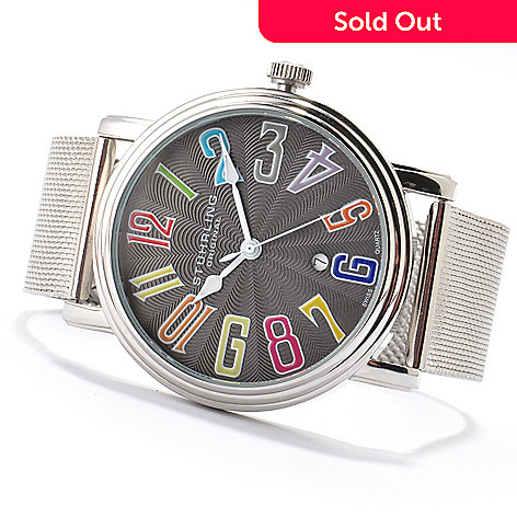 614-532 - Stührling Original Men's Roulette Elite Quartz Stainless Steel Mesh Bracelet Watch