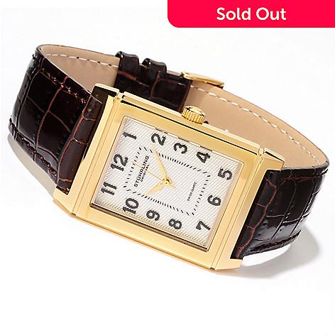 614-535 - Stührling Original Men's Skyline Quartz Stainless Steel Case Leather Strap Watch