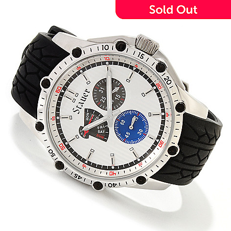 614-552 - Stauer Men's Vanguard Quartz Stainless Steel Silicone Strap Watch